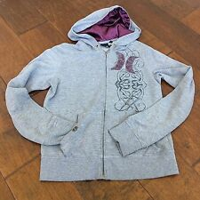 Nike Hurley A4515 Women's Hoodie Sweater Gray Floral Purple Zip Hoody Embroidery