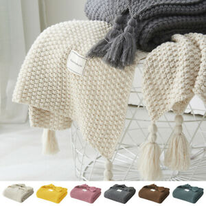 Luxury Knitted Tassel Blanket Sofa Bed Throws Double & King Size Soft Warm Rugs