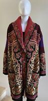 NWOT $2,550 ETRO Wool Blend Jacquard Floral Animal-Print Cardigan Sweater, 46/10