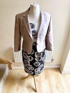 Hobbs Giselle Ivory Black Rose Print Dress Jacket Two Piece Size 10 Suit