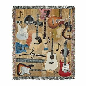 """Manual Woodworkers Guitar Throw Blanket - Tapestry Woven Afghan, 50"""" x 60"""""""