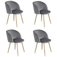 4X Grau Wohnzimmerst Silky Samt Akzent Sessel Küche Esszimmer Büro Stühle Sessel