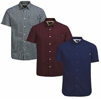 JACK & JONES Jamey Short Sleeve Shirt New Men Cotton Slim Fit Check Smart Shirts