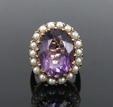Vintage 15.0ct Amethyst & Seed Pearl 14K Yellow Gold Cocktail Ring