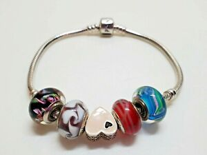 **Authentic Sterling Silver Pandora Snake Bracelet barrel clasp with Charms