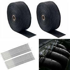 "2 Roll x 2"" 50Ft Exhaust Manifold Header Black Pipe Heat Wrap Tape+20 Ties Kit"