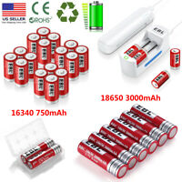 Lot EBL 3.7V 18650 16340 Li-ion Rechargeable Batteries + Charger for 10440 18500