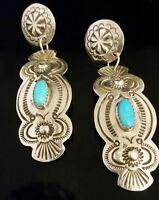 Southwestern Sterling Silver Dangle Drop Turquoise Pierced Post Earrings