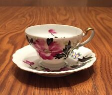 Vintage Lefton Hand Painted Occupied Japan Tea Cup & Saucer Purple Floral