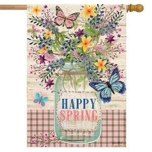 "Happy Spring Mason Jar Floral House Flag Primitive 28"" x 40"" Briarwood Lane"