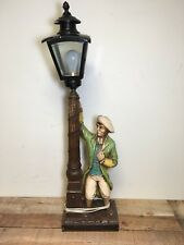 Vintage Hand Carved Lamp Colonial Town Crier Paul Revere Figure