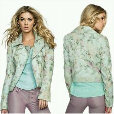 NWT 🌹$398 GUESS FLORAL 100% LEATHER JACKET SIZE M🌹