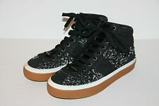 $765 NEW JIMMY CHOO LARGE CHECK FRAYED DENIM BLACK Sneakers 7 US / 40 EU