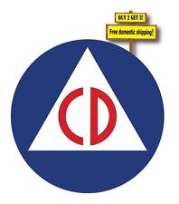 "CIVIL DEFENSE LOGO STICKER/DECAL 3.25""X3.25"" CD PROTECTION BUY 2 GET 3 p49"