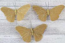 Large Satin Butterflies Butterfly 13 Colours Weddings Crafts Florist Wire Gold 3 Butterflys