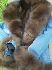 Jeans Parka Denim Fuchs Pelz Color Sable Zobel FUR Coat Pelzmantel Jacke