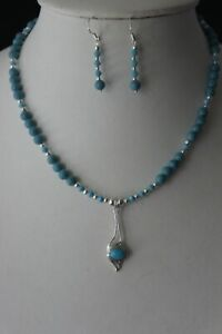 Beautiful Set Necklace & Earrings & Bracelet With Turquoise In Gift Box