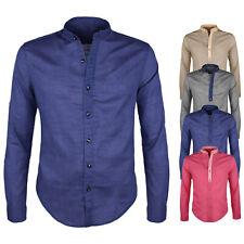 Camicia Uomo Collo Coreana Cotone Casual Slim Fit Manica Lunga VEQUE