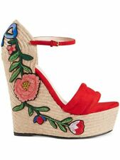 NEW Auth Gucci Embroidered Suede Leather Platform Espadrilles Red 38 / US 8