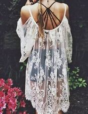 New Boho Cold Shoulder White Lace Tunic Mini Beach Cover Up Bride Dress One Size
