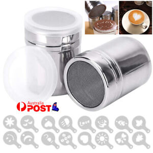 Sugar Cocoa Coffee Shaker Flour Duster Chocolate Powder + 16pcs Decor Stencils