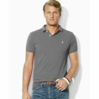 Men's SZ S Polo Ralph Lauren The Iconic Mesh Polo Shirt Classic FIT Gray