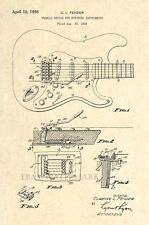 Official 1956 Fender Stratocaster Guitar US Patent - Tremolo - Art Print - 23
