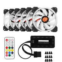 3/6-PCS RGB LED Quiet Computer Case PC Cooling Fan 120mm with Remote Control CHW