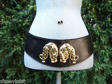 Timothy Hitsman Black Leopard Leather Womens Belt