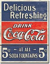 "Drink Coca Cola Delicious And Refresing Diner 12.5"" X 16"" Metal Sign"
