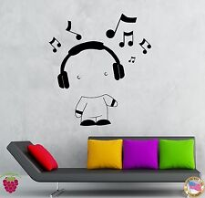 Wall Stickers Vinyl Decal Boy In Headphones Listening Music Notes (z1947)