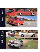 """SAAB 900 e 900 Cabrio Styling/Accessori """"BROCHURE DI VENDITA"""" 1997 FOGLI"""