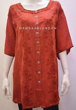 PLUS SIZE RENAISSANCE BOHO GYPSY EMBROIDERY FLORAL TUNIC TOP BROWN 24 26 28 30