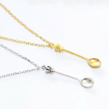 Crown Mini Tea Spoon Pendant Necklace Vintage Silver Gold Plated Women's Jewelry