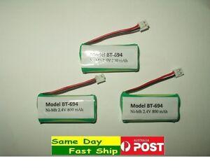 3 pcs BT-694 BT-694S Ni-MH Battery 2.4V 800mAh Rechargeable for Cordless Uniden