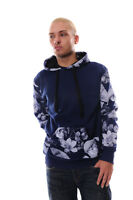 Flowers And Skulls Print Stylish Men's Hoodie NEW 100% Cotton Black Navy S to XL