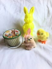 Vtg Lot Easter Bunny Rabbit Chick Plush Decorations tin Blow Mold Container Toys