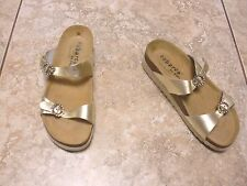 "SPAIN""TABARCA by PEPA""Gold Metallic Adjust.Buckles Slides Sandals size 36EUR/6US"
