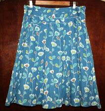 Floral A Line Skirt 12 L Fossil Full Leaf Print 100% Cotton Midi Banded Waist