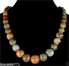 Natural 6-14mm Multicolor Picasso Jasper Round Gemstone Beads Necklace 18""