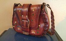 Vintage Mexico Hand Tooled Leather Handbag Bag Purse w/ Flowers & Mushrooms