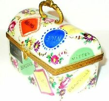 LIMOGES BOX - VINTAGE LARGE SEVRES PURSE & FRENCH CITIES - HALGA - PARIS FRANCE
