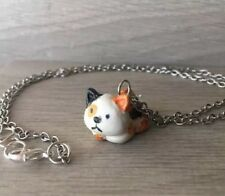 Kawaii Calico cat necklace handmade polymer clay charms, animal lover gift