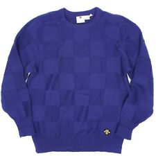 Descente Mens Sweater M Solid Royal Blue Wool Checker Board Patchwork Knit Crew