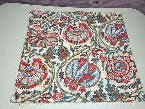 "2 POTTERY BARN Cotton Floral Throw Pillow Sham 18""x18"" Tan,Green,Orange,Blue,Red"