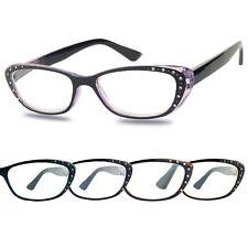 ShadyVEU Slim Colored Tinted Frame Rhinestone Outline Women's Reading Glasses