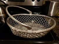 Vtg Aluminum Metal Basket w Handle Large Woven Bowl Oval Container Modern Silver