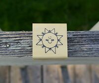 Smiling Sun Sunshine Wood Mounted Rubber Stamp Hook's Lines & Inkers 1993