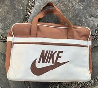 Vintage 70s Nike Orange Tag Brown & Tan Duffle Gym Bag BRS Worn