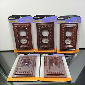 Lot Of 5 Amerelle Solid Wood Switch Plate Covers